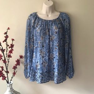 Chaps blue floral long sleeve shirt small